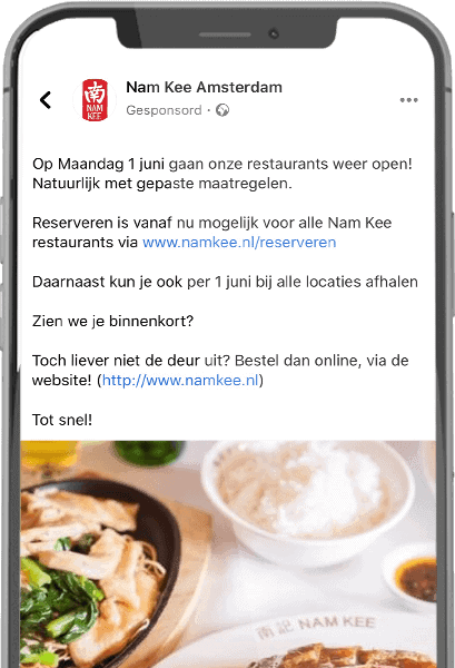 Facebook advertising - Nam Kee Amsterdam
